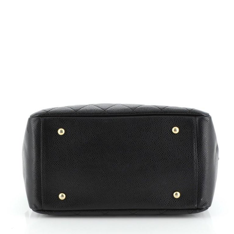 Women's or Men's Chanel Petite Timeless Tote Quilted Caviar For Sale