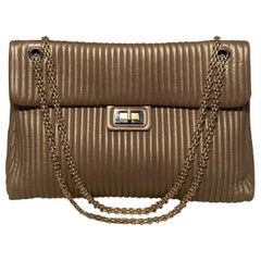 Chanel Pewter Vertical Quilted Stripe Classic Flap Bag