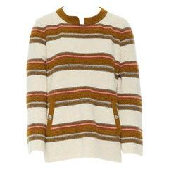 CHANEL PF14 beige multicolour stripe texture cashmere cowboy button sweater FR46