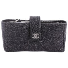 Chanel Phone Holder Clutch Quilted Glitter Caviar