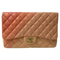 Chanel Pink and Beige Leather Jumbo Limited Edition Bag
