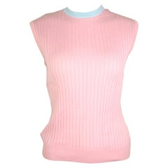 Chanel Pink and Blue Trimming Sleevesless Top