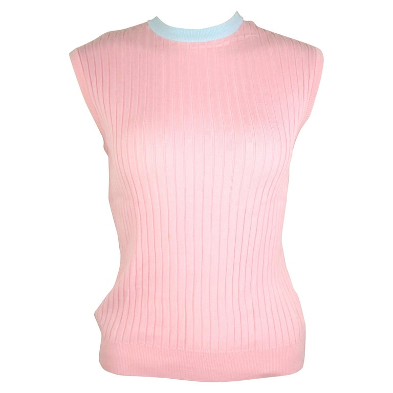 Chanel Pink and Blue Trimming Sleevesless Top For Sale