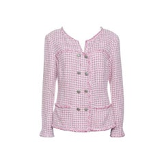 Chanel Pink and White Textured Double Breasted Jacket L