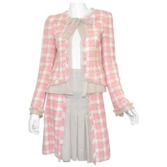 Chanel Pink, Beige Tweed Knit Skirt and Jacket Set with Chiffon Trim