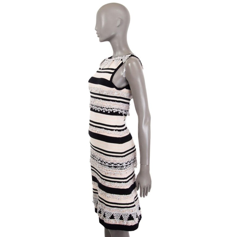 Gray CHANEL pink black cashmere STRIPED SLEEVELESS KNIT Dress 38 S 11C For Sale
