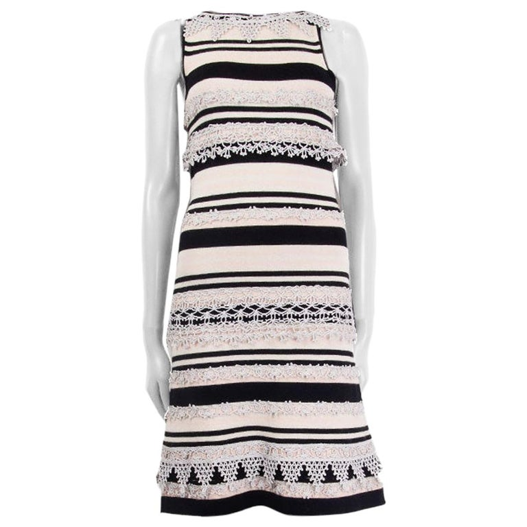 CHANEL pink black cashmere STRIPED SLEEVELESS KNIT Dress 38 S 11C For Sale