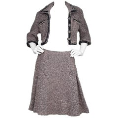 Chanel Pink/Black Mohair Skirt/Cropped Jacket 2 Piece Suit Set Sz 40