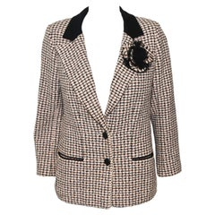 Chanel Pink, Black & White Cotton Tweed W/ Camellia Corsage Jacket 42