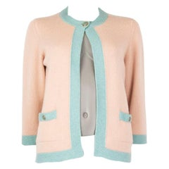 CHANEL pink & blue cashmere Open Cardigan Sweater 40 M