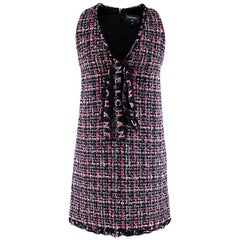 Chanel Pink Boucle Tweed Bow Detail Mini Dress - Size US 0-2