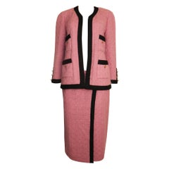Chanel Pink Boucle Wool Suit & Skirt w Black Trim