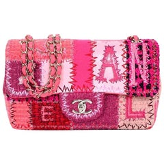 Chanel NEW Pink Canvas Patchwork Embroidery Medium Evening Shoulder Flap Bag