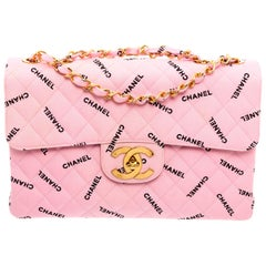 Chanel Pink Canvas Logo Jumbo XL Maxi Single Flap Bag