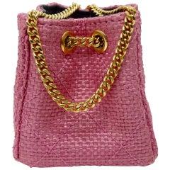 Chanel Pink Canvas Mini Bucket Bag Necklace