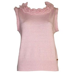 NEW Chanel Pink Cashmere Mix Ruffled Ruched Knit Pullover Top