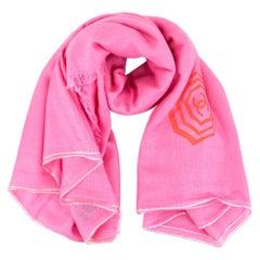 Chanel Pink Cashmere & Silk Blend Umbrella Print Shawl