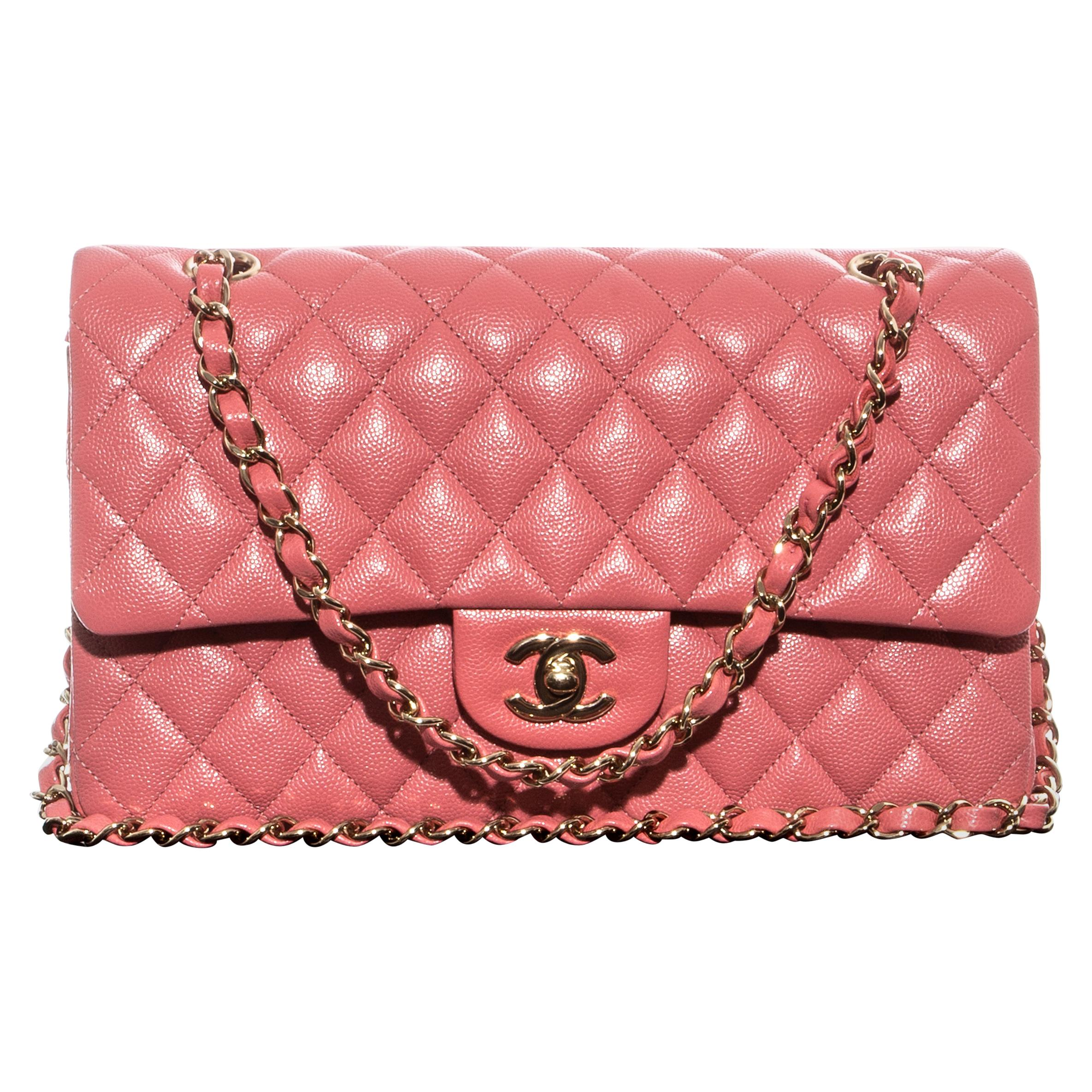 Chanel pink caviar leather classic 2.55 flap bag with gold chain