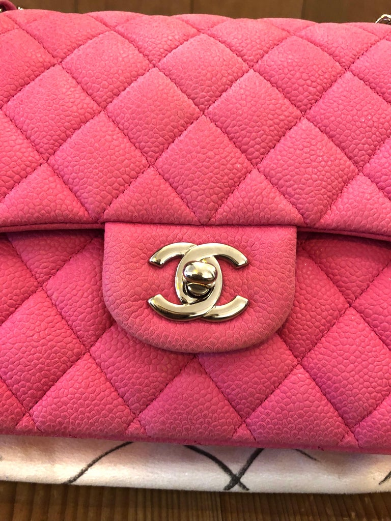 Chanel Pink Caviar Nubuck Classic Double Flap Bag For Sale 9