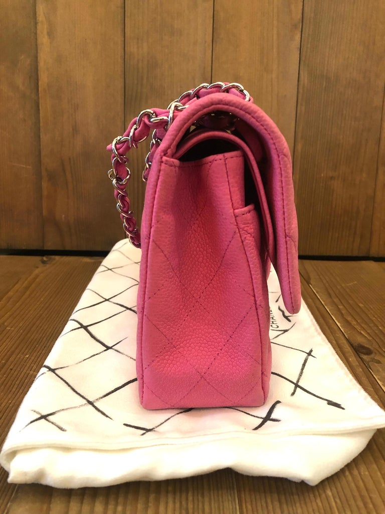 Chanel Pink Caviar Nubuck Classic Double Flap Bag For Sale 10