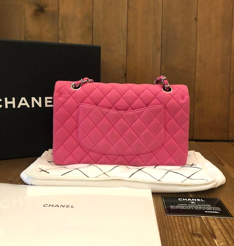 Chanel Pink Caviar Nubuck Classic Double Flap Bag In Good Condition For Sale In Bangkok, TH