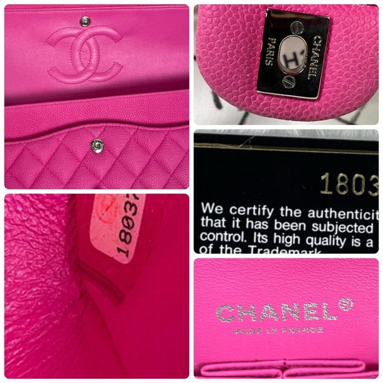 Chanel Pink Caviar Nubuck Classic Double Flap Bag For Sale 13
