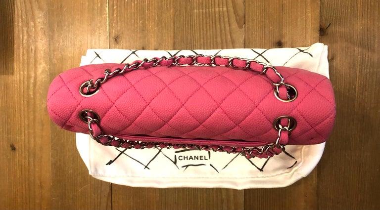 Women's or Men's Chanel Pink Caviar Nubuck Classic Double Flap Bag For Sale