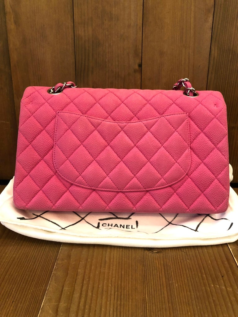 Chanel Pink Caviar Nubuck Classic Double Flap Bag For Sale 2