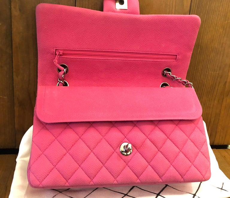 Chanel Pink Caviar Nubuck Classic Double Flap Bag For Sale 3