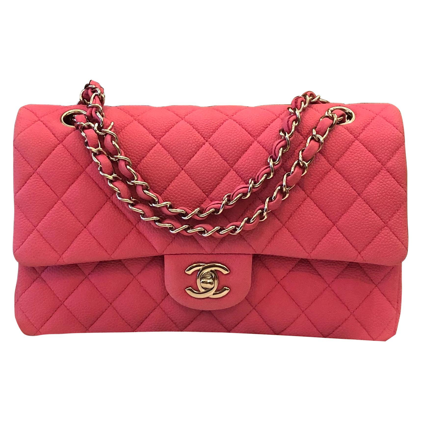 Chanel Pink Caviar Nubuck Classic Double Flap Bag