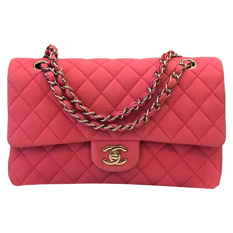 Chanel Pink Caviar Nubuck Classic Double Flap Bag For Sale
