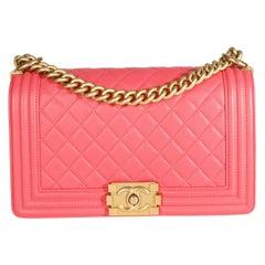 Chanel Pink Caviar Quilted Medium Boy Bag