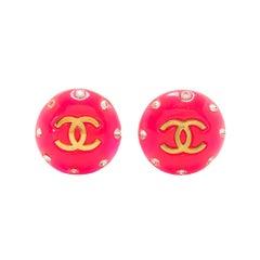 Chanel Pink CC Earrings