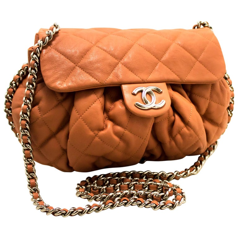b0f586cf6049 CHANEL Pink Chain Around Shoulder Crossbody Bag Flap Quilted For Sale