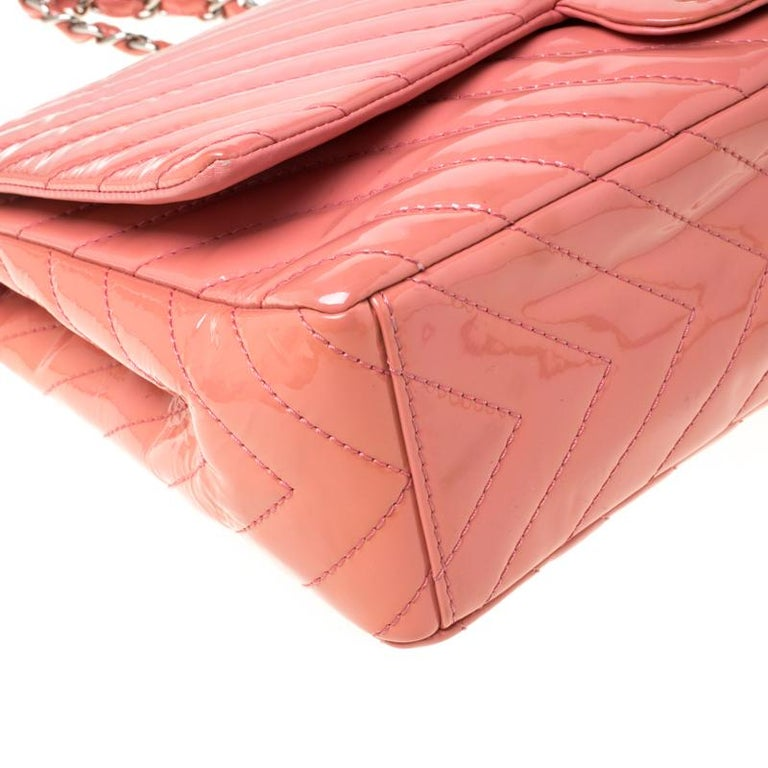 Chanel Pink Chevron Patent Leather Maxi Classic Single Flap Bag For Sale 6