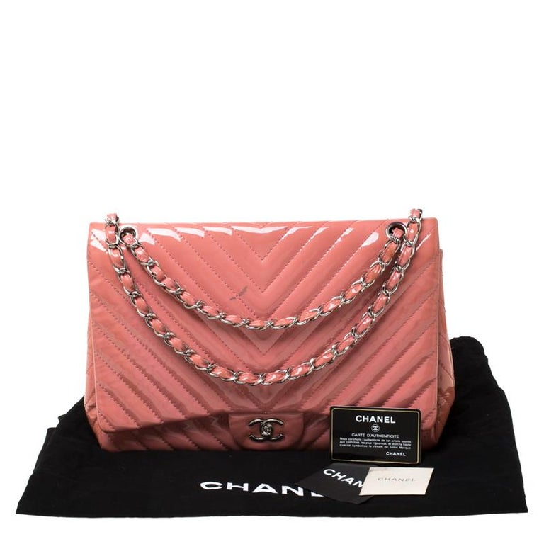 Chanel Pink Chevron Patent Leather Maxi Classic Single Flap Bag For Sale 8