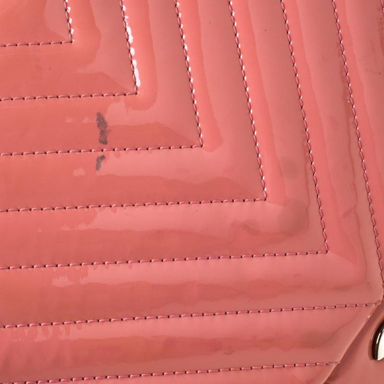 Chanel Pink Chevron Patent Leather Maxi Classic Single Flap Bag For Sale 4