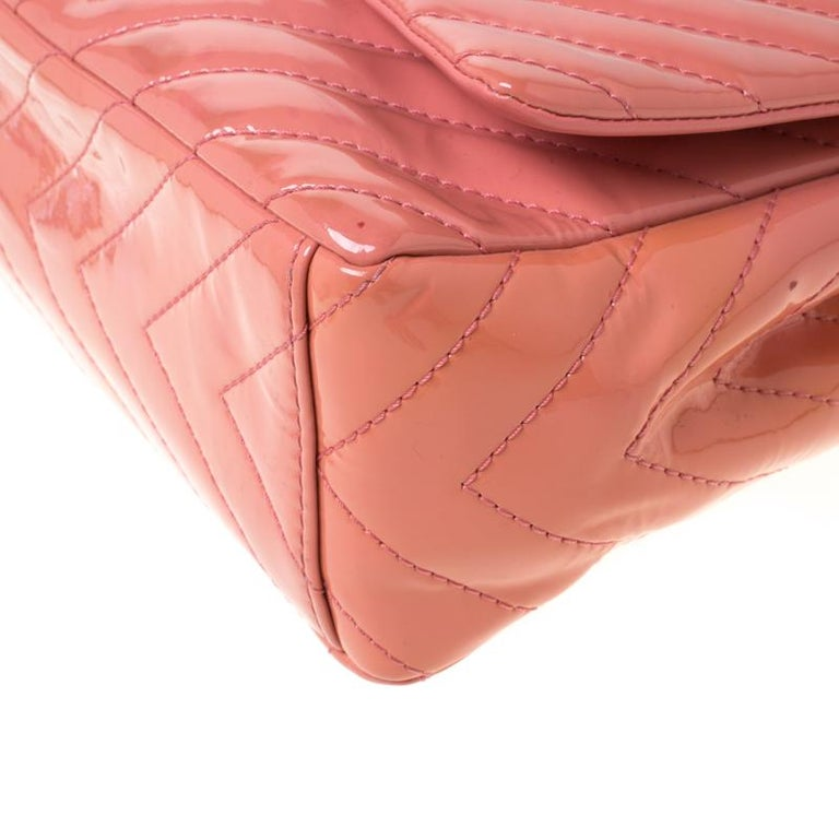Chanel Pink Chevron Patent Leather Maxi Classic Single Flap Bag For Sale 5