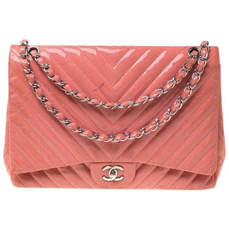 Chanel Pink Chevron Patent Leather Maxi Classic Single Flap Bag For Sale