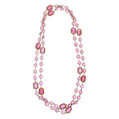 Chanel Pink Chicklet Sautoir Necklace