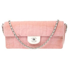 Chanel Pink Chocolate Bar Quilted Fabric East West Flap Bag