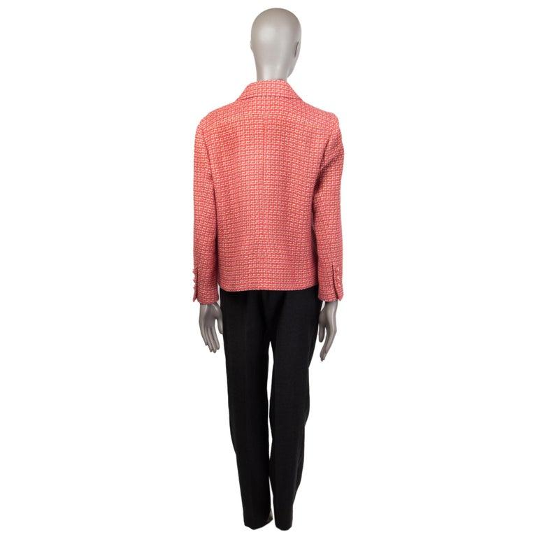 Orange CHANEL pink cotton Tweed Blazer Jacket 46 XXL For Sale