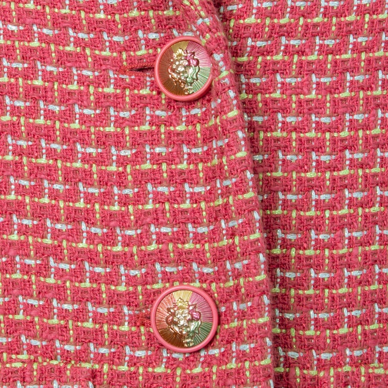 Women's CHANEL pink cotton Tweed Blazer Jacket 46 XXL For Sale