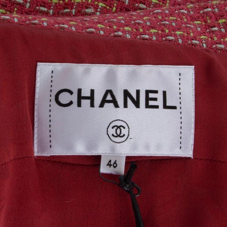 CHANEL pink cotton Tweed Blazer Jacket 46 XXL For Sale 1