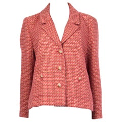 CHANEL pink cotton Tweed Blazer Jacket 46 XXL