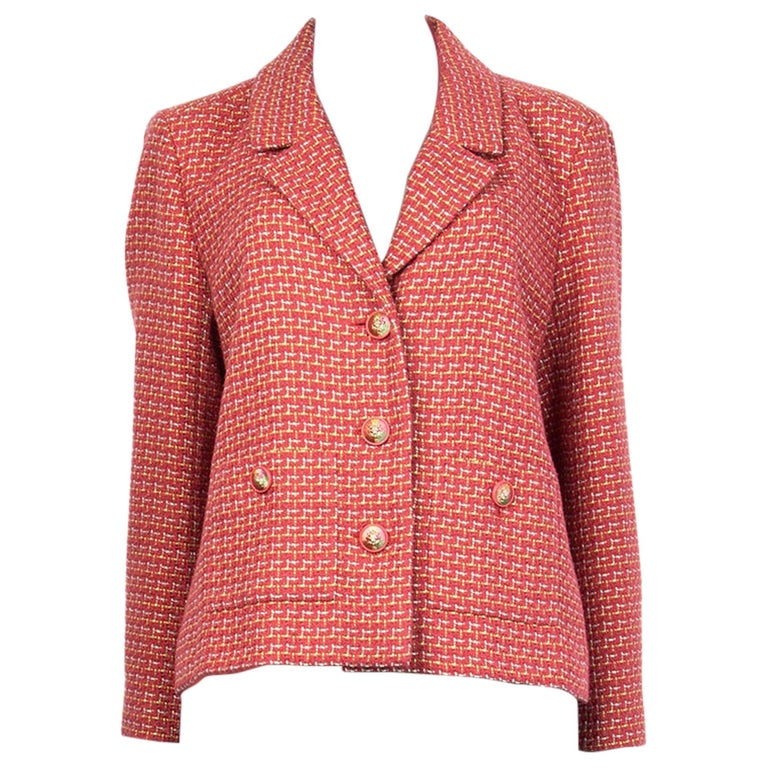 CHANEL pink cotton Tweed Blazer Jacket 46 XXL For Sale