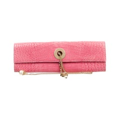 Chanel Pink Crocodile Exotic Leather Gold Chain Envelope Evening Clutch Flap Bag