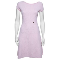 Chanel Pink Embossed Jacquard Knit Drop Waist Dress S
