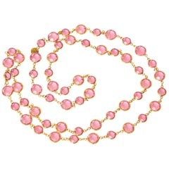 Chanel Pink Faceted Crystal Sautoir Necklace Vintage