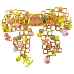 Chanel Pink Green Gold Metal Charm Evening Cuff Bracelet